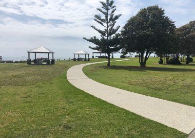 Follow the coastal bike path